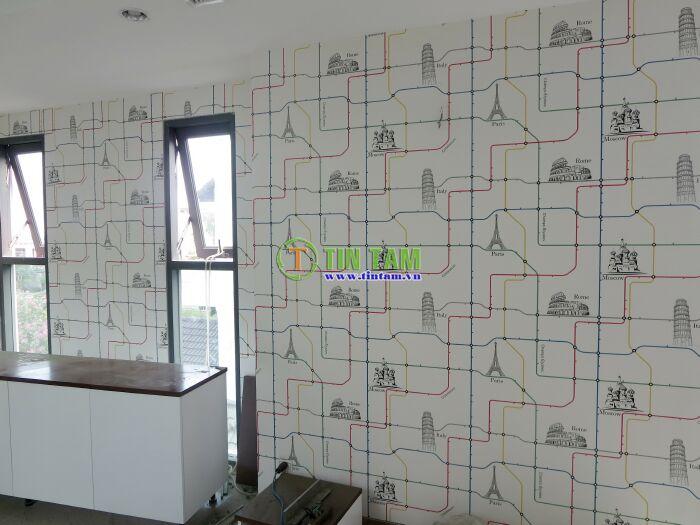 mẫu giấy dán tường phòng bé trai đẹp
