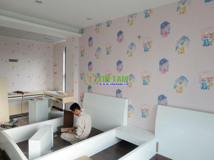 mẫu dán tường hình công chúa dành cho bé gái