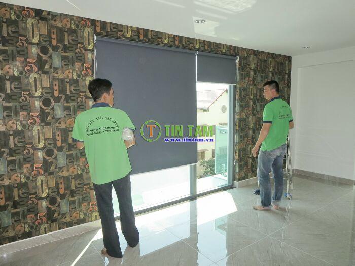 màn cửa tín tâm thi công giấy dán tường 3d đẹp và màn cửa chống nắng